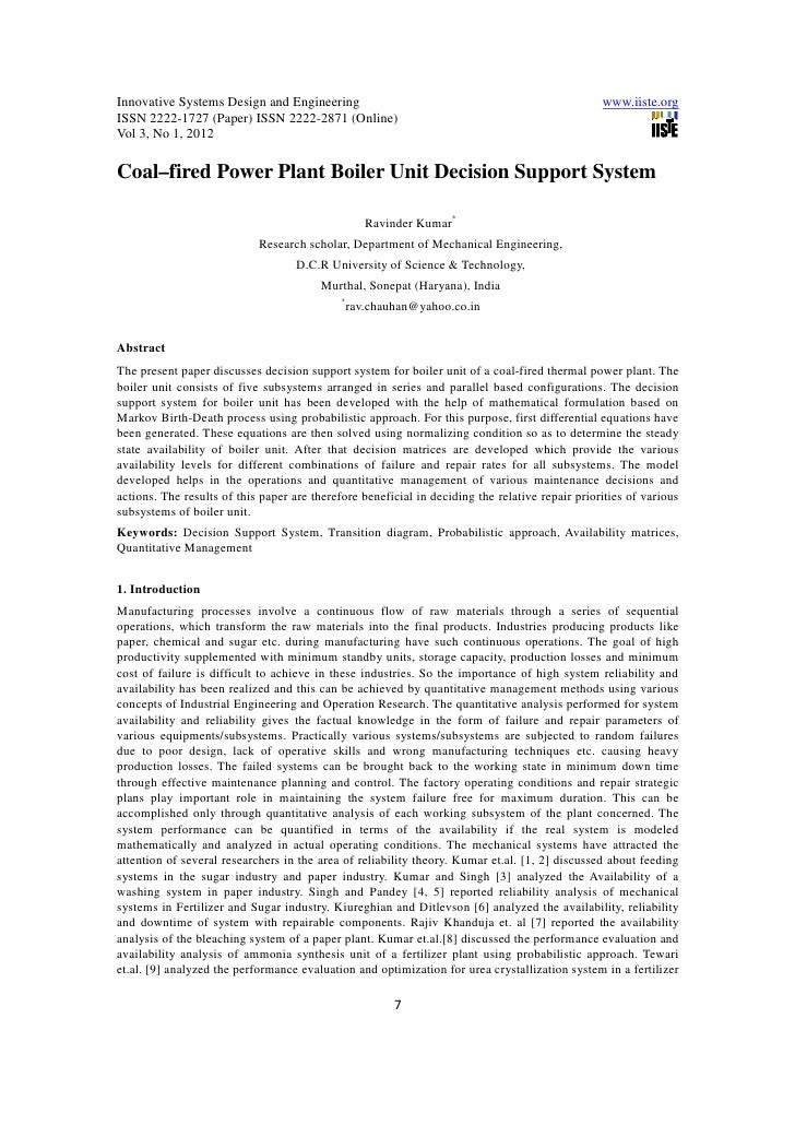 11.coalfired power plant boiler unit decision support system