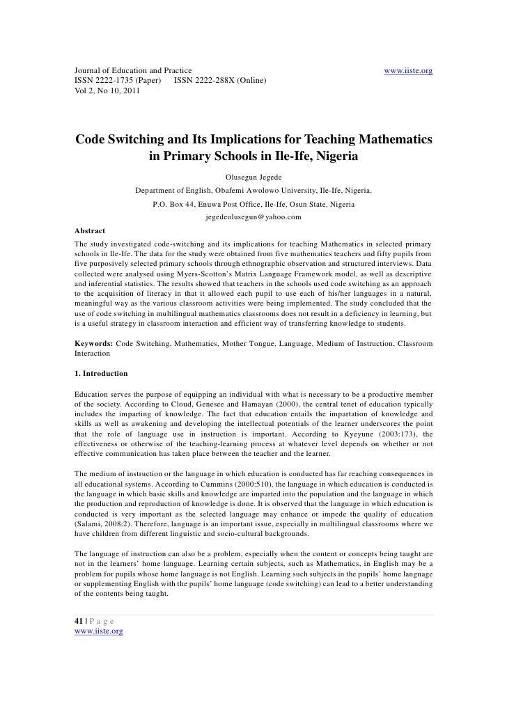11.code switching and its implications for teaching mathematics in primary schools in ile ife, nigeria