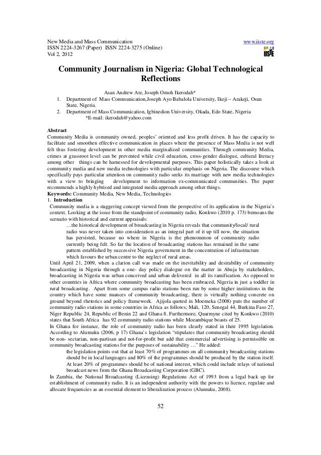 New Media and Mass Communication www.iiste.org ISSN 2224-3267 (Paper) ISSN 2224-3275 (Online) Vol 2, 2012 52 Community Jou...