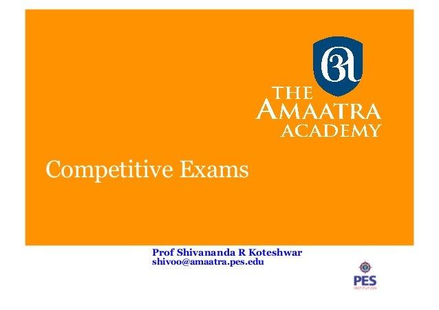 Competitive Exams Prof Shivananda R Koteshwar