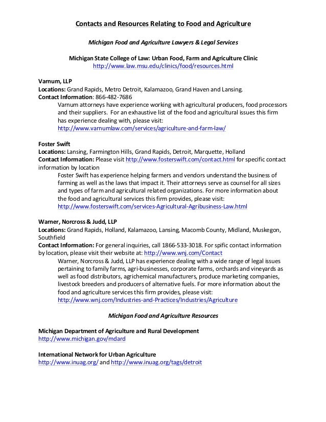 Contacts  and  Resources  Relating  to  Food  and  Agriculture       Michigan  Food  and  Agricult...