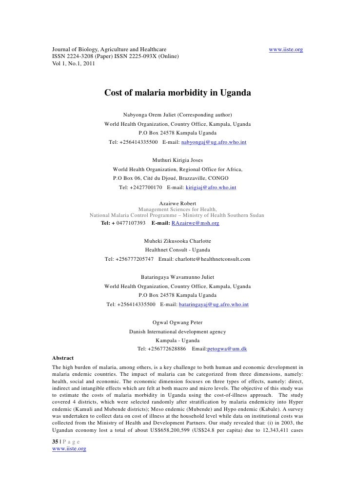 11.cost of malaria morbidity in uganda