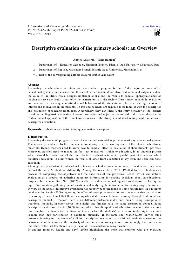 11.descriptive evaluation of the primary schools an overview