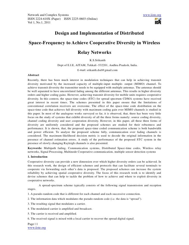 11.design and implementation of distributed space frequency to achieve cooperative diversity in wireless relay networks