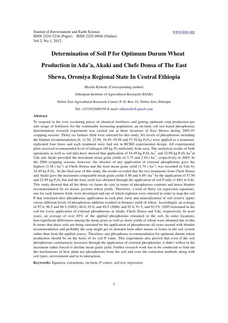 11.determination of soil p for optimum durum wheat production in ada抋, akaki and chefe donsa