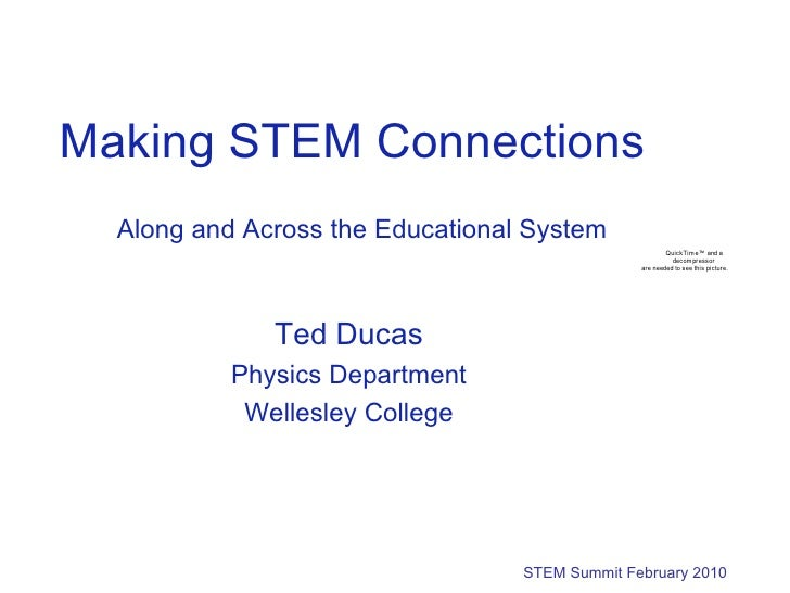 Making STEM Connections Along and Across the Educational System STEM Summit February 2010 Ted Ducas Physics Department Wel...