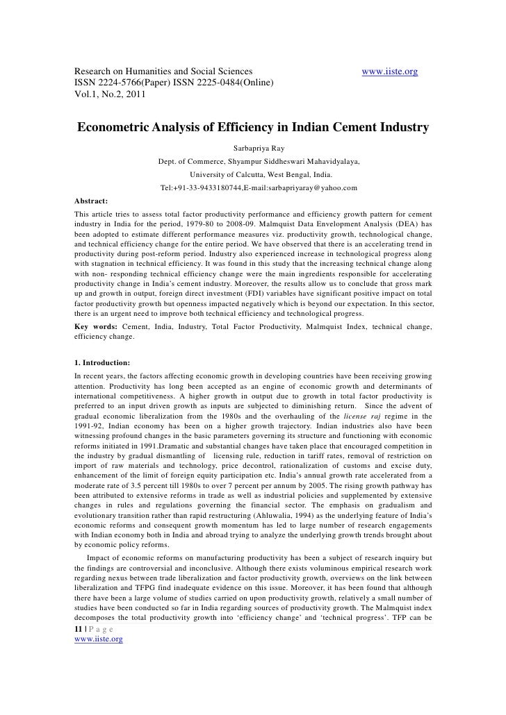 11.econometric analysis of efficiency in indian cement industry