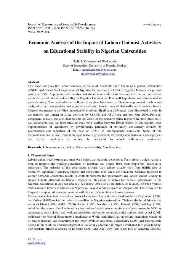 11.economic analysis of the impact of labour unionist activities on educational stability in nigerian universities