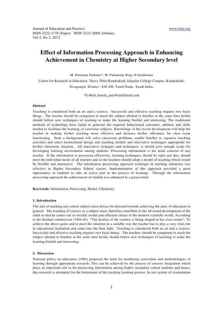 11.effect of information processing approach in enhancing achievement in chemistry at higher secondary level