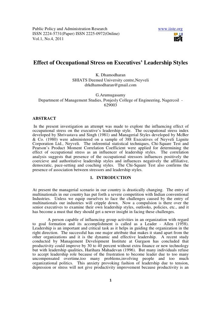 11.effect of occupational stress on executives leadership styles