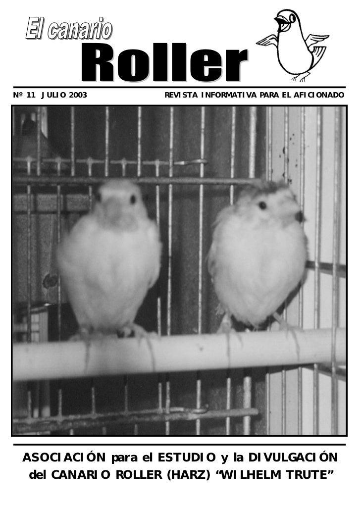 Nº 11 JULIO 2003     REVISTA INFORMATIVA PARA EL AFICIONADO  ASOCIACIÓN para el ESTUDIO y la DIVULGACIÓN   del CANARIO ROL...