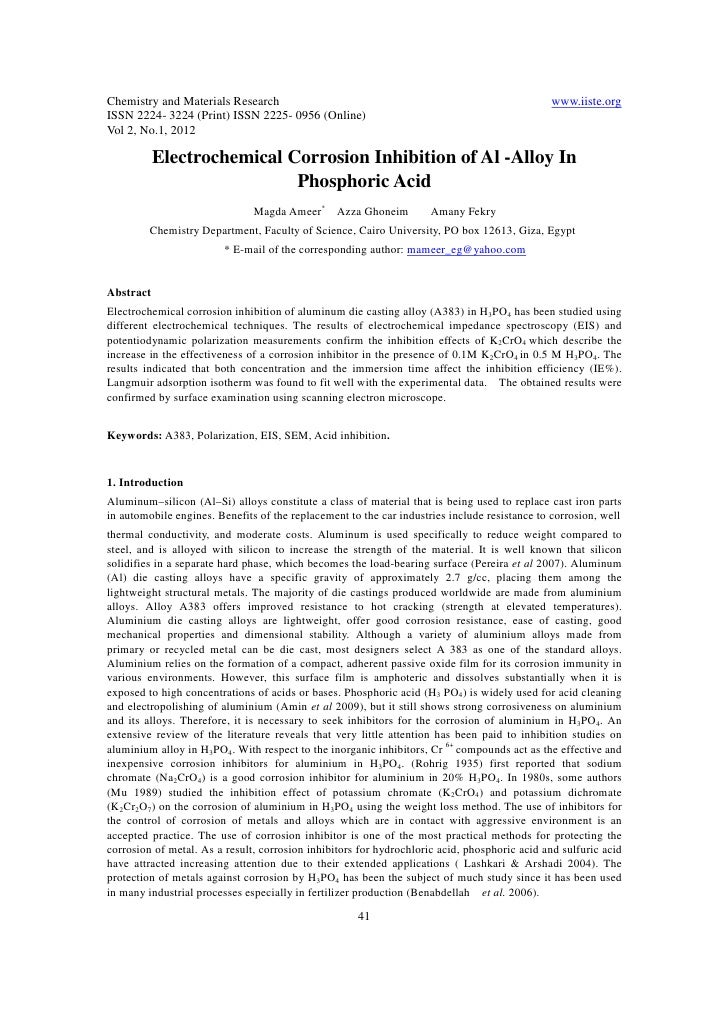 11.electrochemical corrosion inhibition of al alloy in phosphoric acid