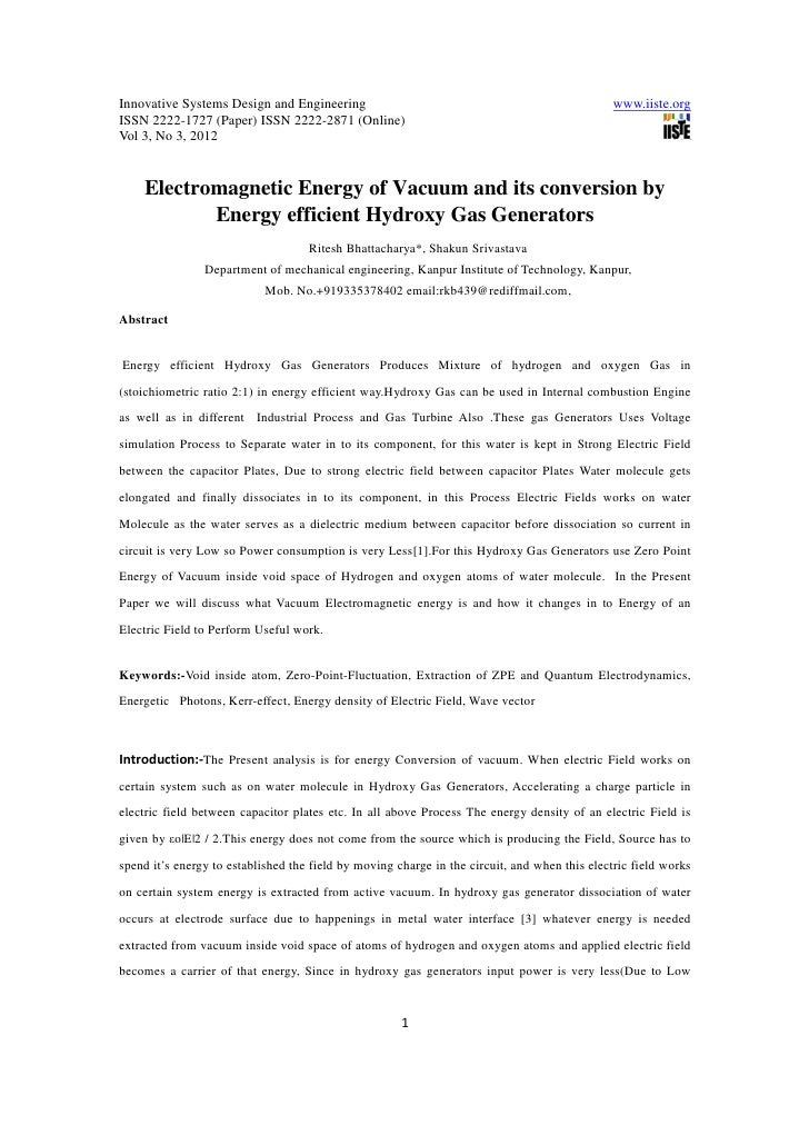 11.electromagnetic energy of vacuum and its conversion by energy efficient hydroxy gas generators