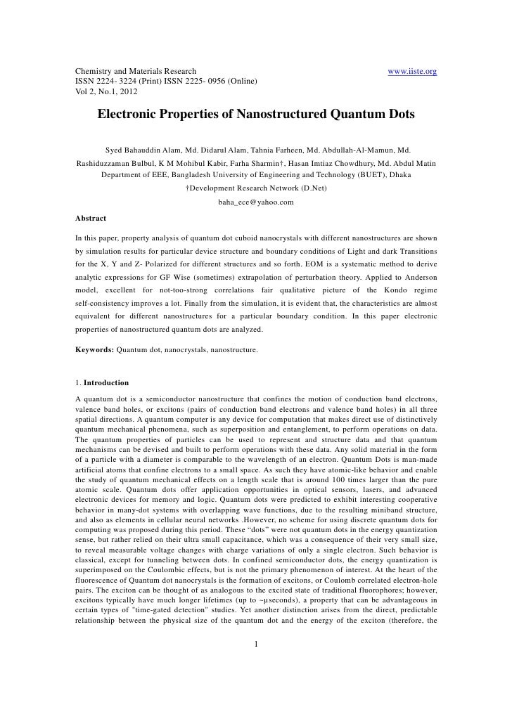 11.electronic properties of nanostructured quantum dots