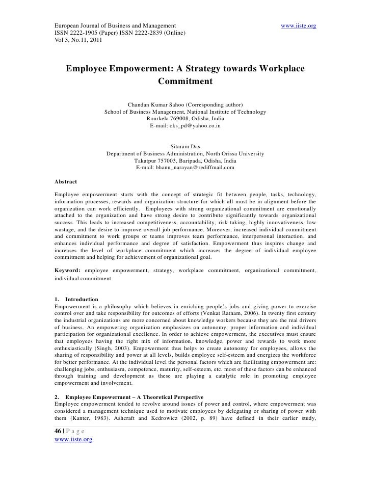 11.employee empowerment a strategy towards workplace commitment