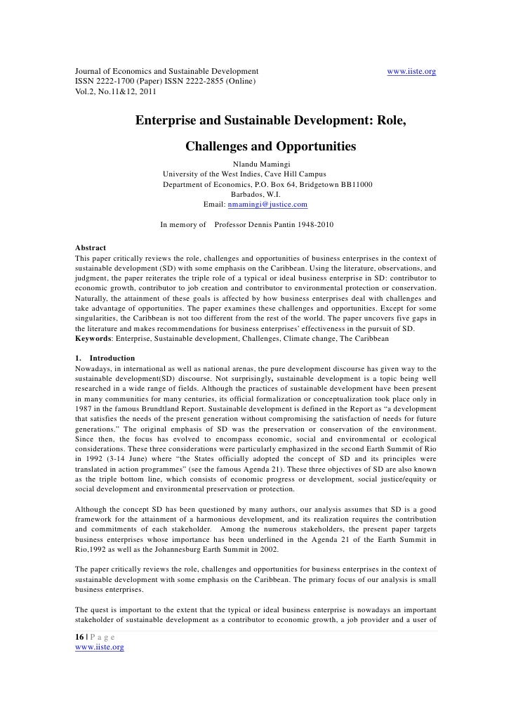 11.enterprise and sustainable development role challenges and opportunities