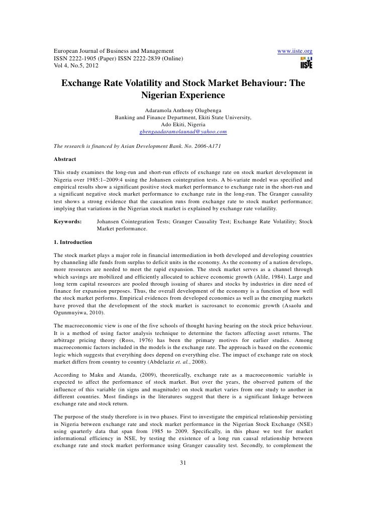 11.exchange rate volatility and stock market behaviour the nigerian experience