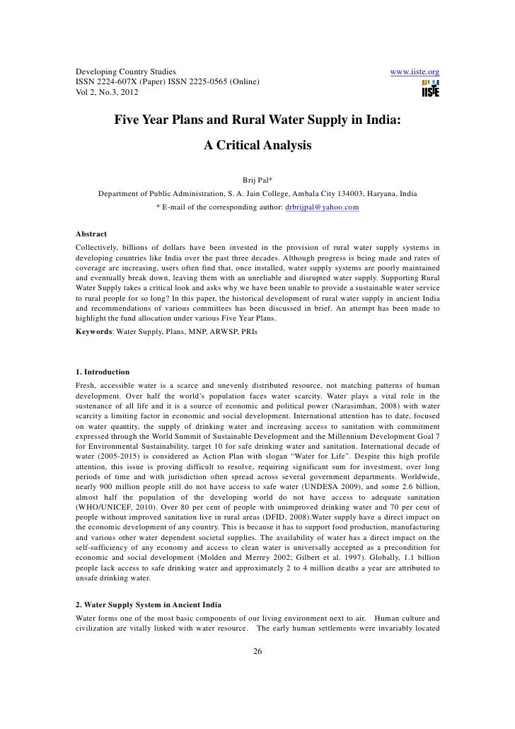 11.five year plans and rural water supply in india