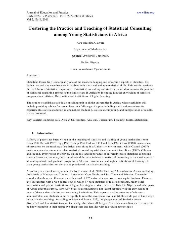 11.fostering the practice and teaching of statistical consulting among young statisticians in africa