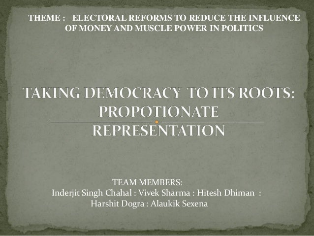 THEME : ELECTORAL REFORMS TO REDUCE THE INFLUENCE OF MONEYAND MUSCLE POWER IN POLITICS TEAM MEMBERS: Inderjit Singh Chahal...