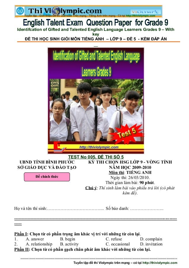 Identifcation of Gifted and Talented English Language Learners Grades 9 – With                                         key...