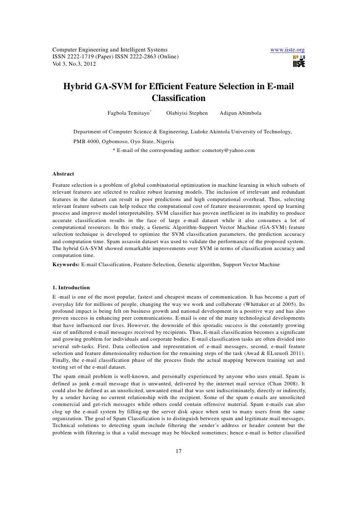 11.hybrid ga svm for efficient feature selection in e-mail classification