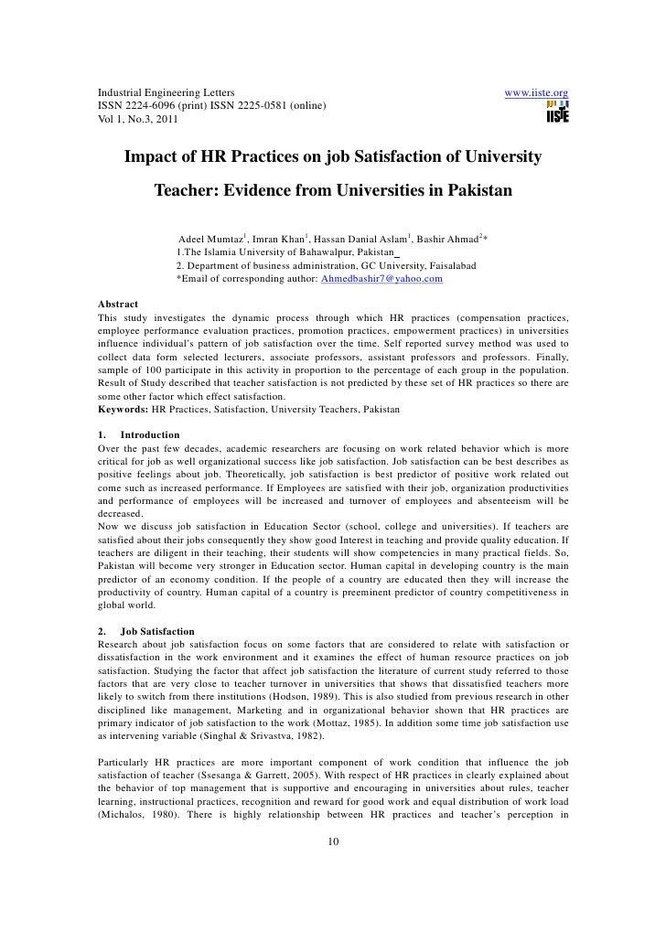 11.impact of hr practices on job satisfaction of university teacher evidence from universities in pakistan
