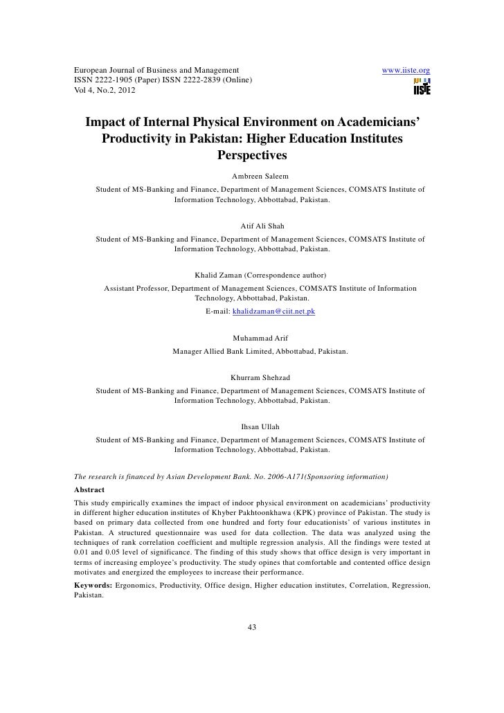 11.impact of internal physical environment on academicians productivity in pakistan higher education institutes perspectives