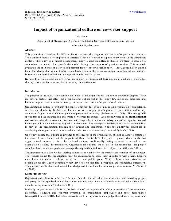11.impact of organizational culture on coworker support