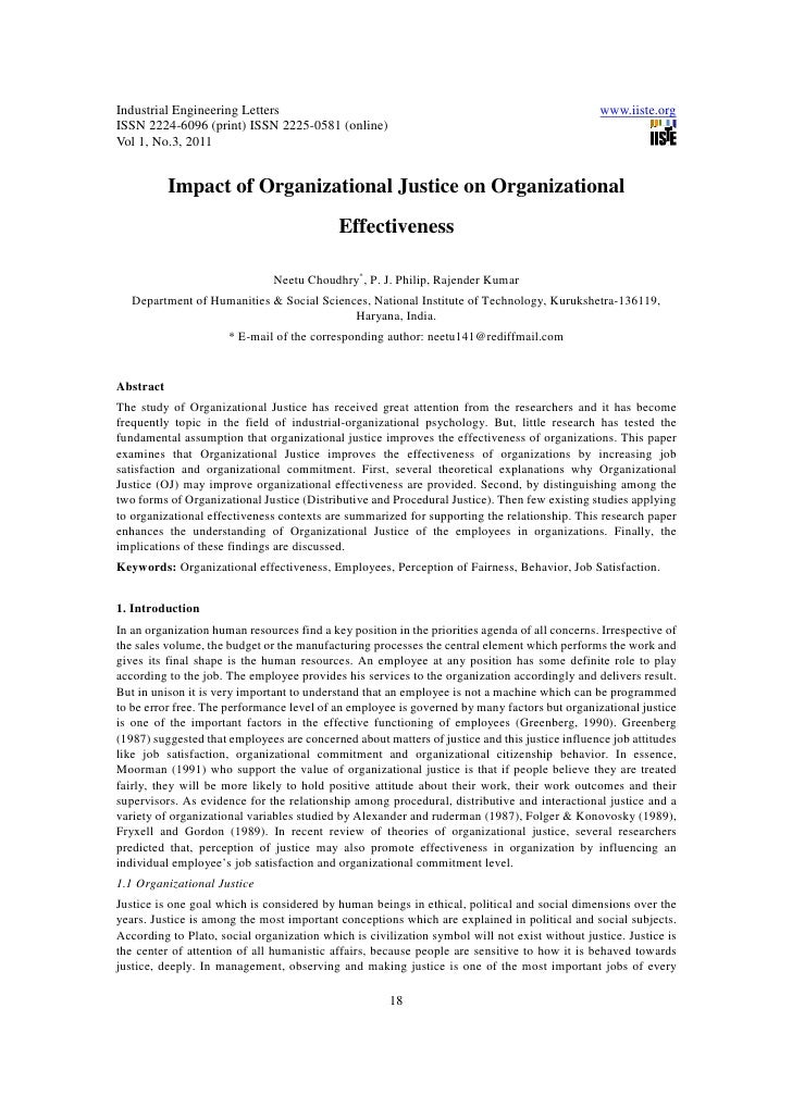 11.impact of organizational justice on organizational effectiveness