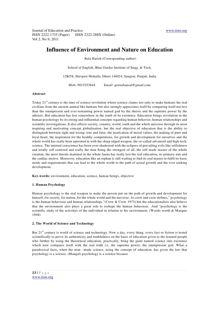 11.influence of environment and nature on education