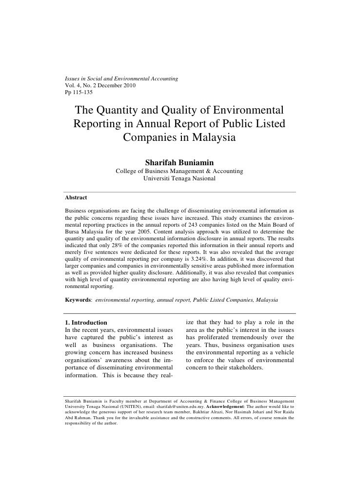 Issues in Social and Environmental AccountingVol. 4, No. 2 December 2010Pp 115-135    The Quantity and Quality of Environm...