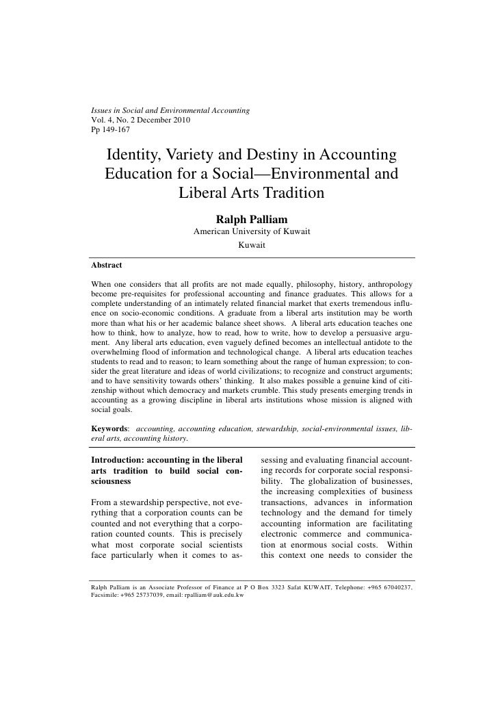 Issues in Social and Environmental AccountingVol. 4, No. 2 December 2010Pp 149-167    Identity, Variety and Destiny in Acc...