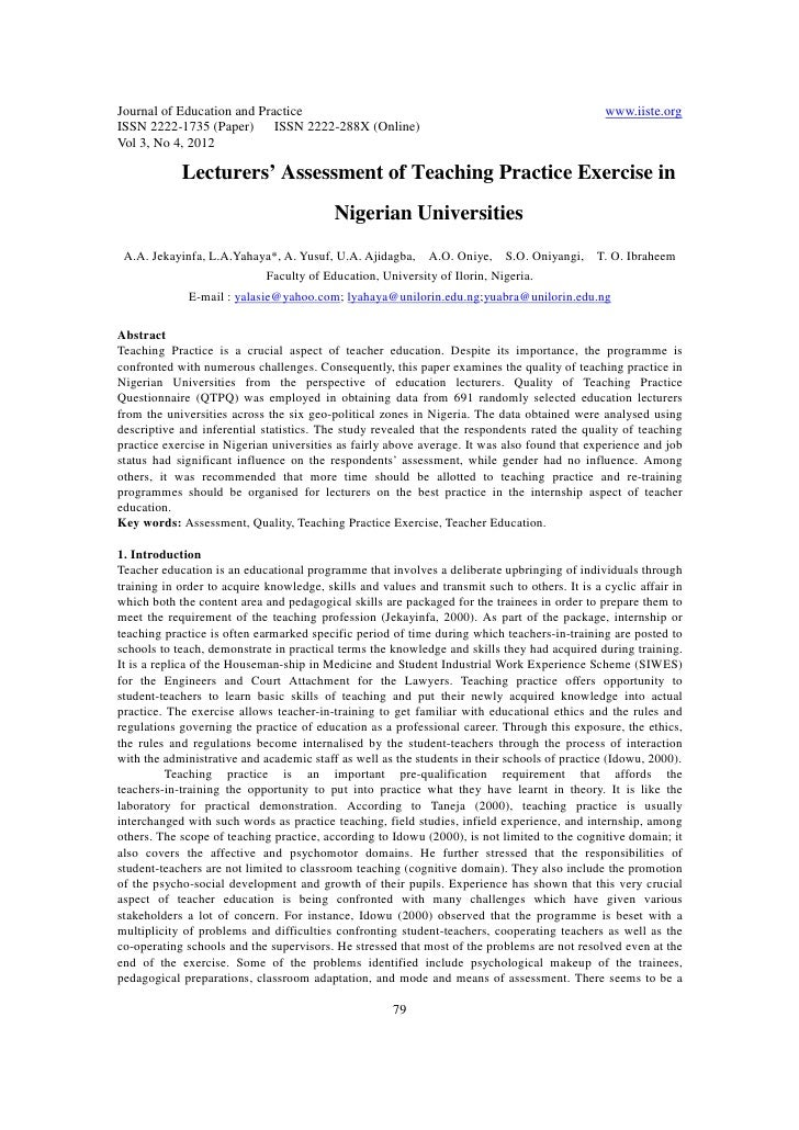 11.lecturers assessment of teaching practice exercise