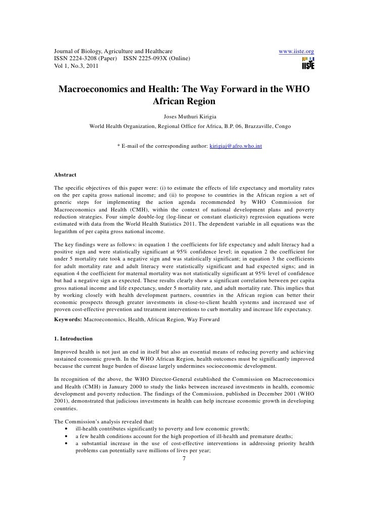 11.macroeconomics and health the way forward in the who african region