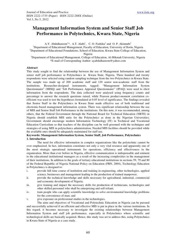 11.management information system and senior staff job performance in polytechnics