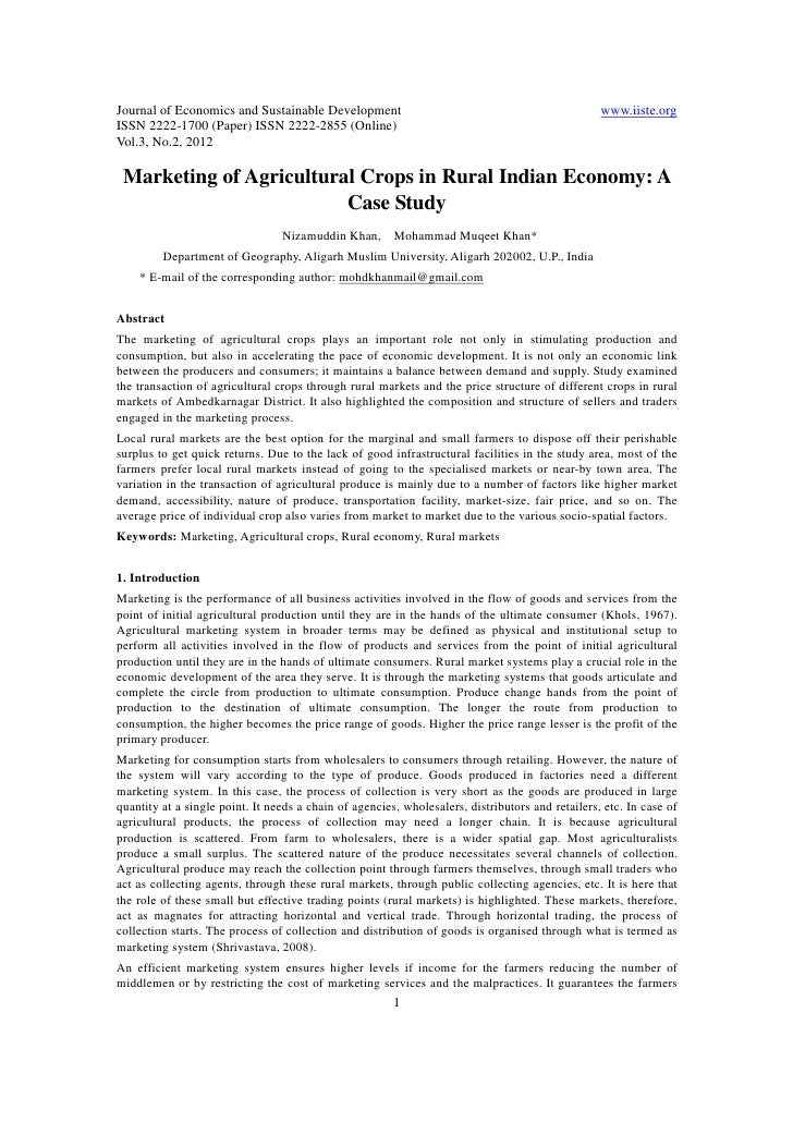 11.marketing of agricultural crops in rural indian economy a case study