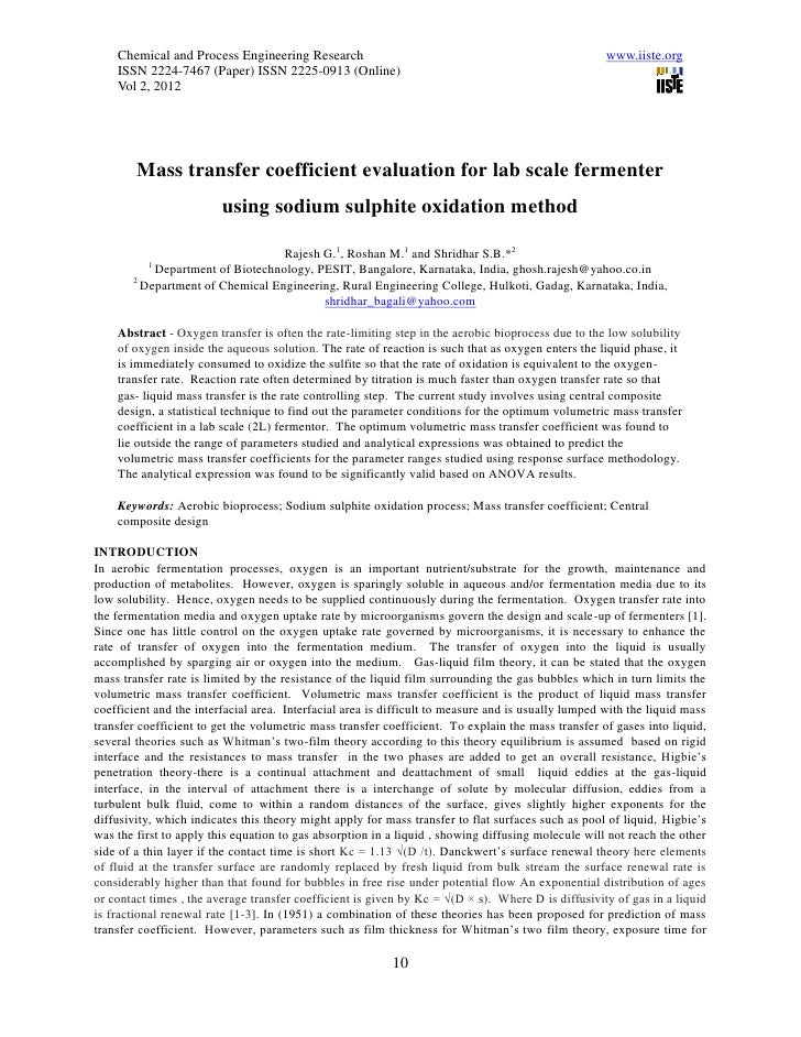 11.mass transfer coefficient evaluation for lab scale fermenter using sodium sulphite oxidation method