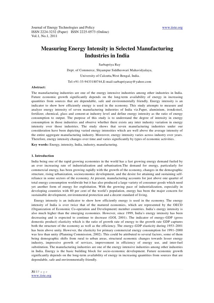 11.measuring energy intensity in selected manufacturing industries in india