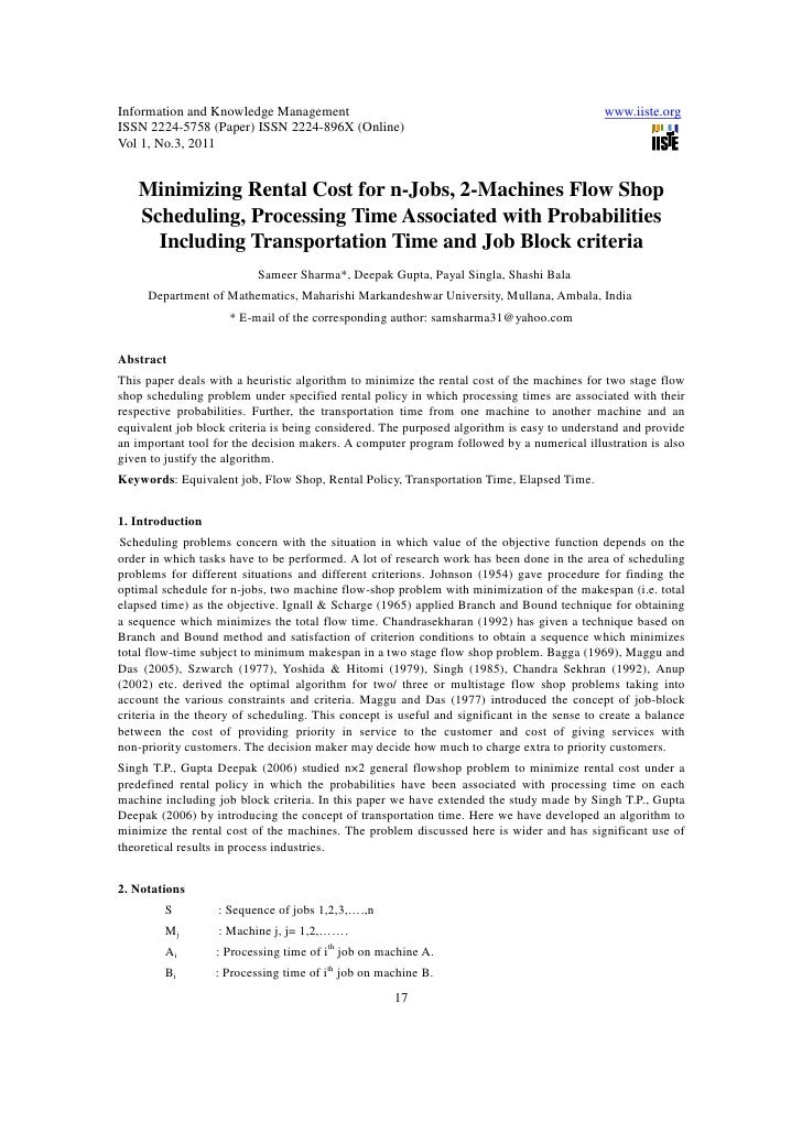11.minimizing rental cost for n jobs, 0002www.iiste.org call for-paper-machines flow shop scheduling, processing time associated with probabilities
