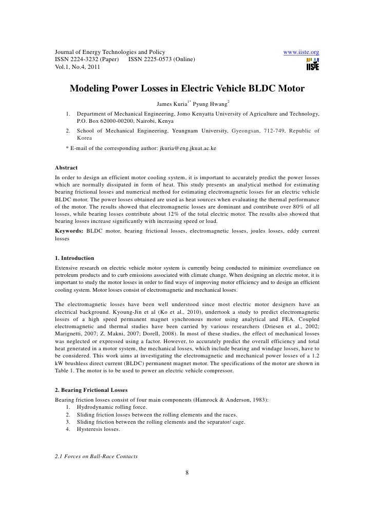 11.modeling power losses in electric vehicle bldc motor