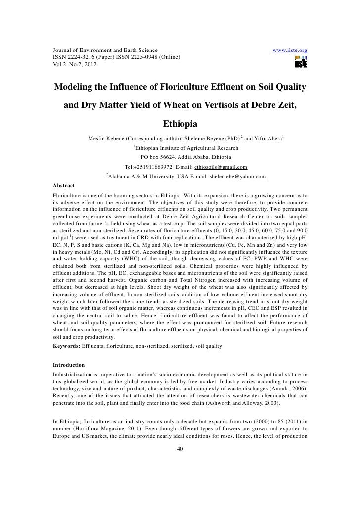 11.modeling the influence of floriculture effluent on soil quality and dry matter yield of wheat on vertisols at debre zeit