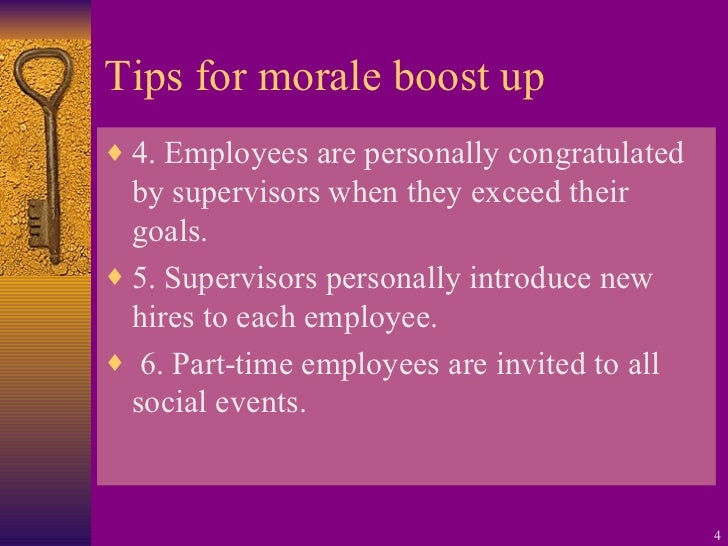 employee morale and motivation Good employee morale generally means that workers are happy to come to work each day, comfortable in the nature of their work and with their co-workers, and optimistic about their.