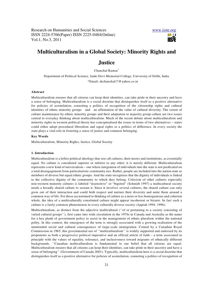 11.multiculturalism in a global society minority rights and justice