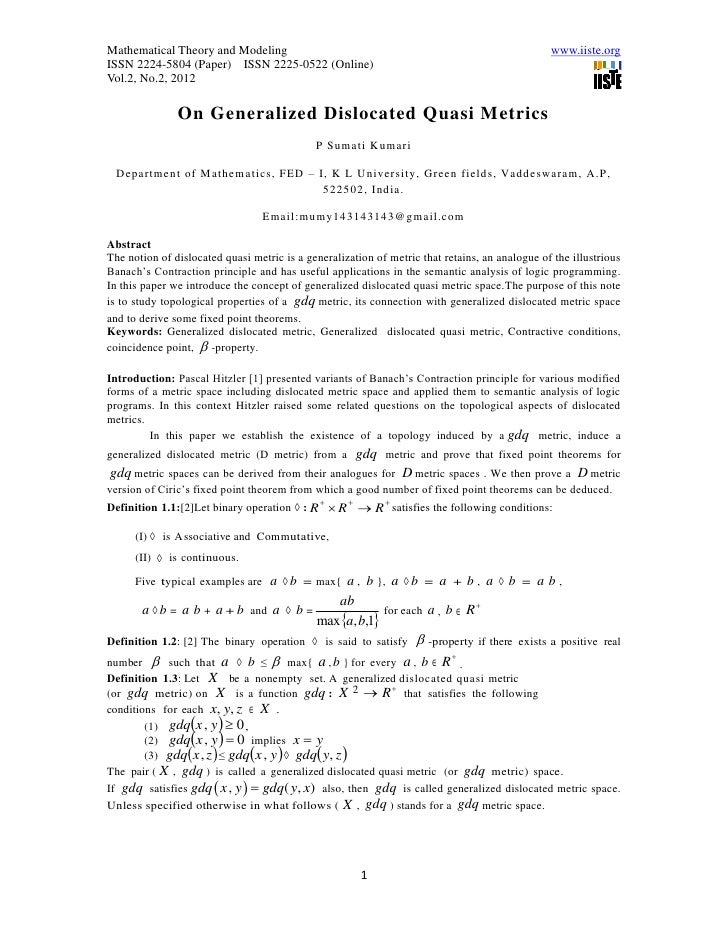 Mathematical Theory and Modeling                                                                www.iiste.orgISSN 2224-580...
