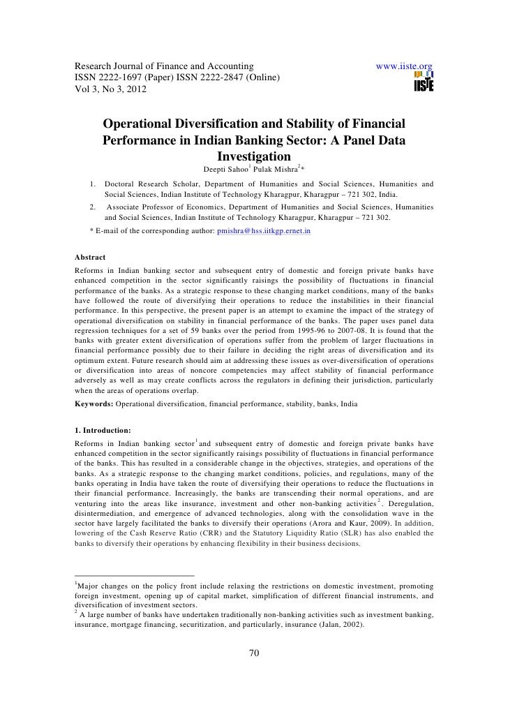 11.operational diversification and stability of financial performance in indian banking sector