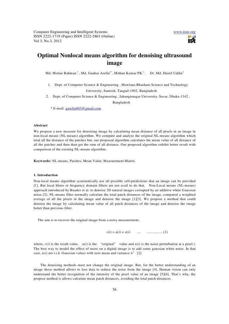 11.optimal nonlocal means algorithm for denoising ultrasound image