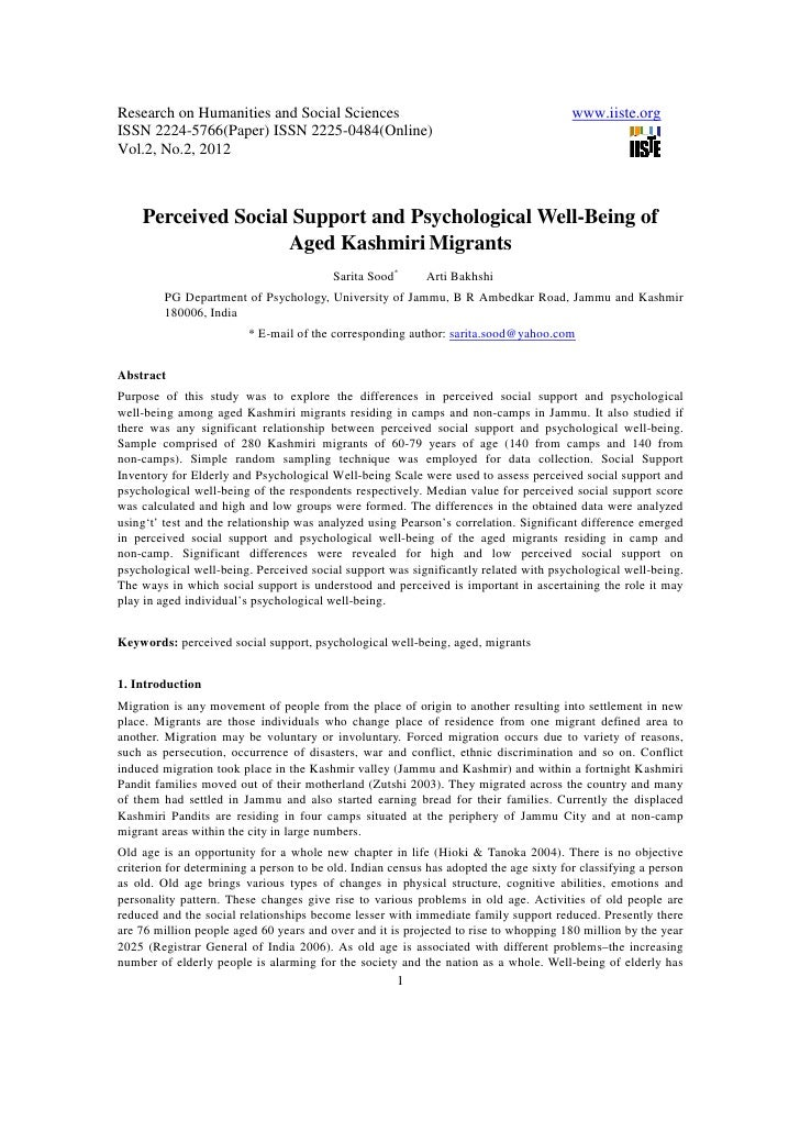11.perceived social support and psychological well being of aged kashmiri migrants