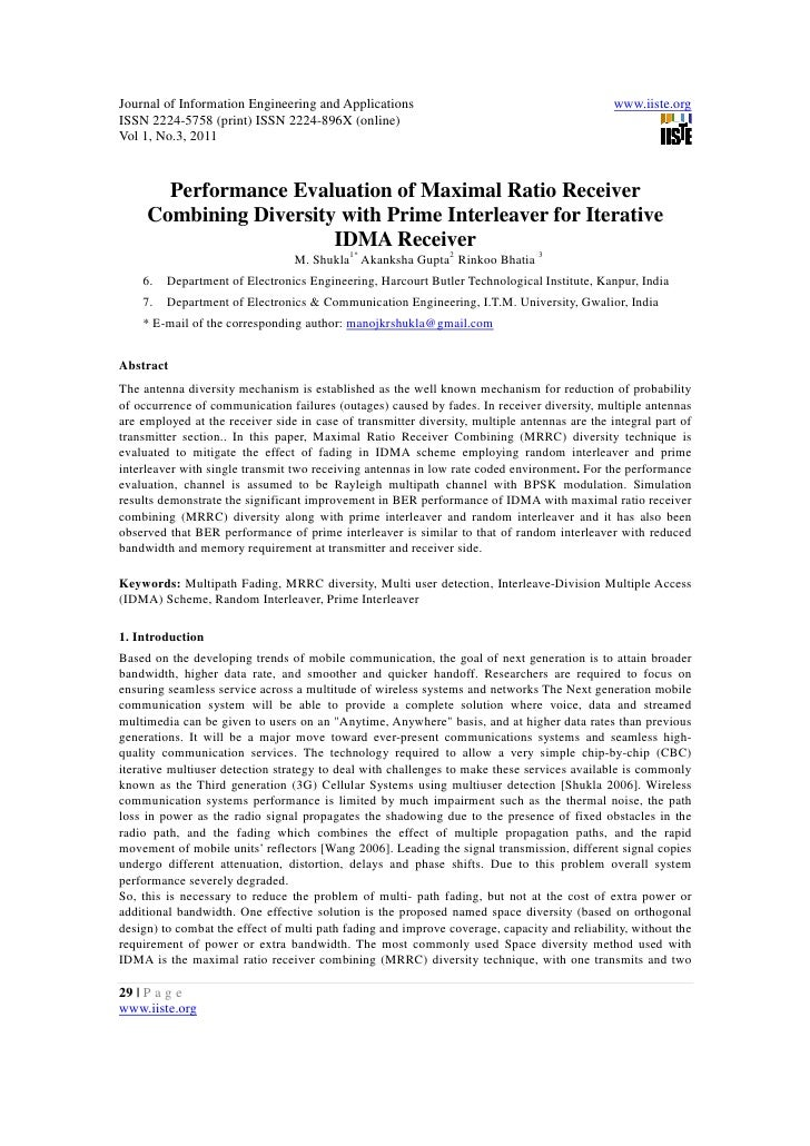 11.performance evaluation of maximal ratio receiver combining diversity with prime interleaver for iterative idma receiver