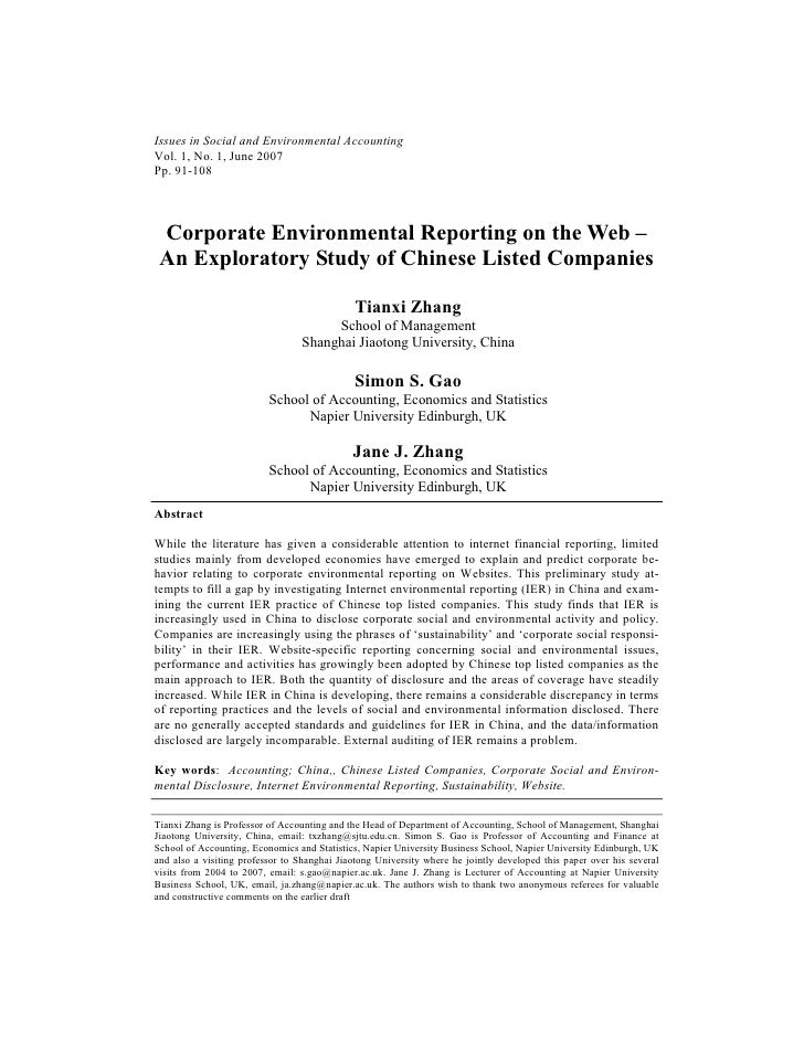 Issues in Social and Environmental AccountingVol. 1, No. 1, June 2007Pp. 91-108 Corporate Environmental Reporting on the W...
